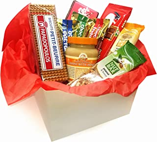 Mediterranean healthy gift basket with Ion Chocolate bars, Tahini with honey, healthy sesame and peanut honey nut bar, Mil...