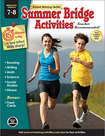 Summer Bridge Activities - Grades 7 - 8, Workbook for Summer Learning Loss, Math, Reading, Writing and More with Flash Cards