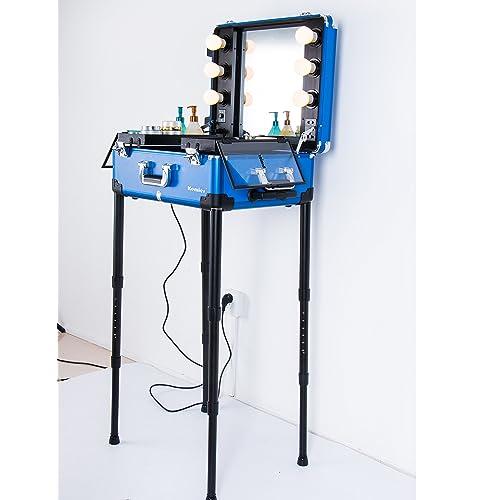 Kemier Makeup Case,Professional Artist Studio Cosmetic Train Table w/4 Rolling Wheels &