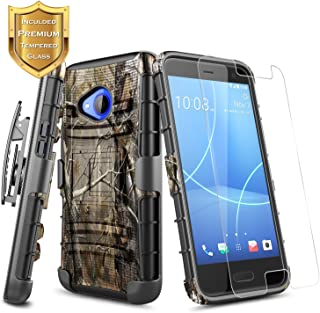 HTC U11 Life Case (T-Mobile) w/[Tempered Glass Screen Protector] NageBee Belt Clip Holster Defender Heavy Duty Shock Proof Kickstand Dual Layer Combo Rugged Armor Durable Ultra Protection Case (Camo)