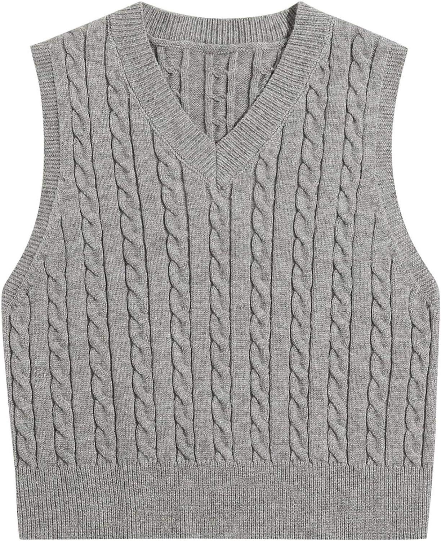 Women's Knitted V-Neck Vest Girls Sleeveless Crop Knitwear Tank Top Sweater