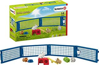 Schleich Farm World Rabbit and Guinea Pig Hutch 14-piece Educational Playset for Kids Ages 3-8