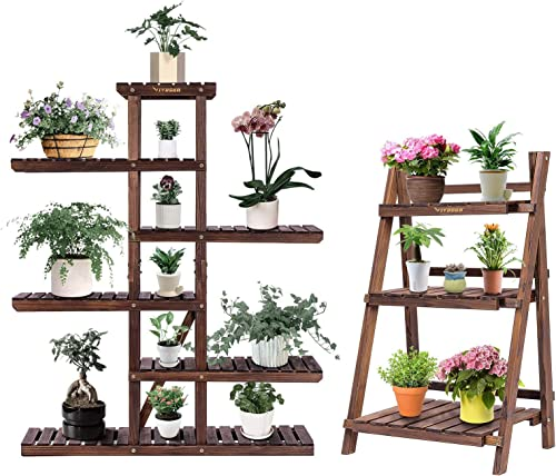 lowest VIVOSUN outlet online sale Multi-Layer Flower Pot Shelves, with 4 Tier Foldable Wooden Plant discount Stand online