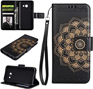 Samsung Galaxy Prime On Case THRION Half Mandala Flower Leather Flip Wallet Cover with Card Slot Holder and Magnetic Closure for Samsung Galaxy Prime On Black