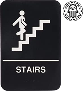 ADA Sign Door Plate Stairs with Braille for Business, Restaurant, 9