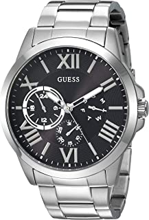 GUESS Stainless Steel + Black Bracelet Watch with Day, Date + 24 Hour Military/Int'l Time. Color: Silver-Tone (Model: U118...