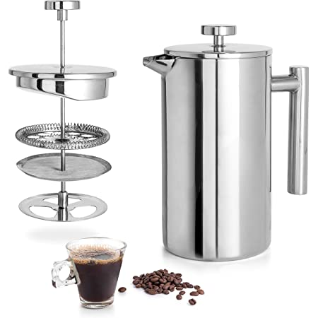 Mixpresso Stainless Steel French Press Coffee Maker 34 Oz 1L Double Wall Metal Insulation Coffee Press &Tea Brewer Easy Clean, And Easy Press, High Quality Coffee Press