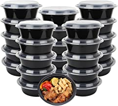 50-Pack meal prep Plastic Microwavable Food Containers Bowls for meal prepping with Lids (28 oz.) Black Reusable Storage Lunch Boxes -BPA-Free Food Grade -Freezer & Dishwasher Safe.
