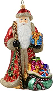 Miss Christmas 2019 Collection Santa with Bag of Gifts 7-Inch Blown Glass Christmas Tree Ornament