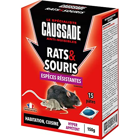 Caussade CARSPTBF150 Rat & Souris | Pat'Appât Espèces Résistantes | Habitation Lieux Secs et Humides | 150g | 15 Pâtess | 1 Seule Ingestion Suffit, Fabriqué en France