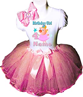 Pig Party Birthday Dress 4TH Birthday Pink Tutu Outfit Shirt