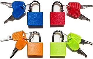 Padlock,Luggage Locks(4 Pack) Padlock with Key,Small Padlock, Lock for Locker Gym,Assorted Colors -Luggage Essentials (Multicolor 4 Pack)