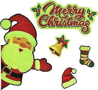 Bright Reflective Merry Christmas car Magnet Decorations Set,JumboSanta Claus Car Magnet Reflective Decal for Car Fridge Garage Mailbox Vehicle Truck Xmas Holiday Décor(Santa Claus), 5pack