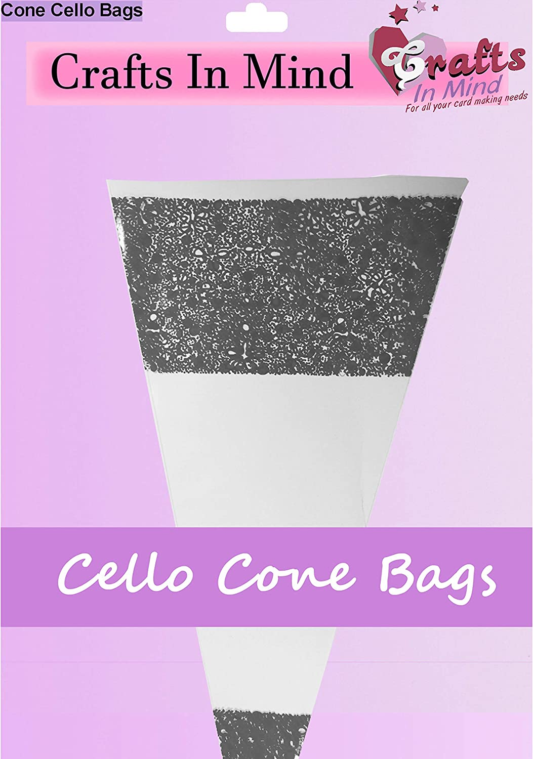 Black Cone Cello Bags   High Quality Clear Cellophane   Party Sweet Bags   Small 16cm x 22cm (Pack of 1000)