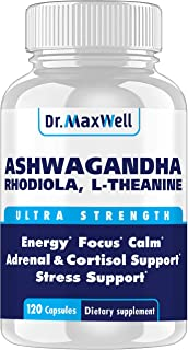Cortisol Manager - Adrenal Support - Thyroid Support. Clinically Proven Amounts Unlike Competitors, 120 Pills. Adaptogen S...