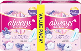 Always Skin Love Pads, Lavender Freshness, Thick & Large, 48 Count