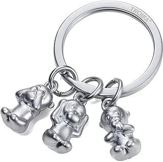TROIKA THREE MONKEYS – KR17-18/MA – Keyring – emoji monkey – 3 monkeys – See no evil, hear no evil, speak no evil. – keychain, key chain – cast metal– matt – chrome plated – silver – TROIKA-original