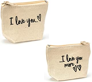 Lipstick, Vape, or Coin Pouch - I Love You & I Love You More - Small Bag - Canvas Bag - Set of 2, 1 of Each Design