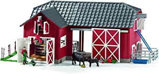 SCHLEICH Large Red Barn with Animal Figurines & Accessories