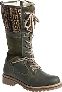 Women's Bos & Co Holland Wool-Lined Waterproof Leather Boots (40, Olive)