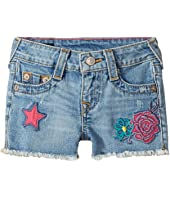 True Religion Kids - Bobby Patched Raw Edge Shorts in Sail Away (Toddler/Little Kids)