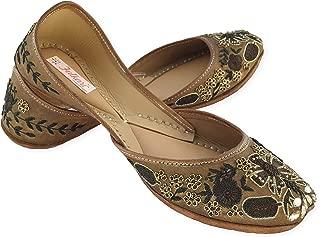 Fulkari Prime Amaryllis Women's Soft Leather Bite and Pinch Free Punjabi Flat Ladies Jutti Ethnic Mojari Jutis