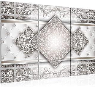 Runa Art Abstrait Mandala Peinture Tableau Salon XXL Beige Gris Oriental 120 x 80 cm 3 Parties Decoracion Murale 023531b
