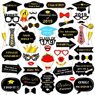 Graduation Photo Booth Props (50Count), Konsait Large Graduation Photo Props Class of 2019 Grad Decor with Sticks for Kids Boy Girl, Black and Gold, for Graduation Party Favors Supplies Decorations