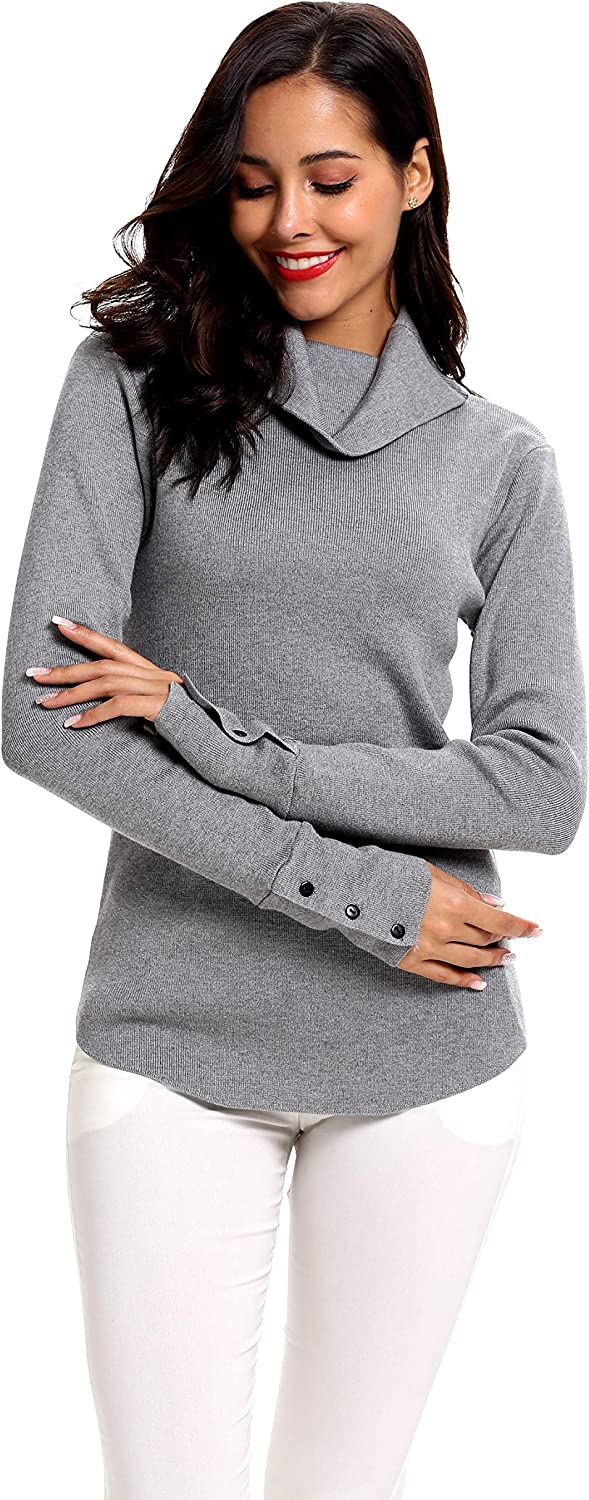 SIRUITON Womens Turtleneck Jumpers Long Sleeve Sweater Knit Pullover Cowl Neck Ribbed Knitwear Grau