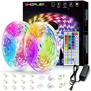 SHOPLED LED Strip Lights 10m for Bedroom, RGB LED Lights Color Changing Rope Lights with IR Remote Control, LED Strip kit ...