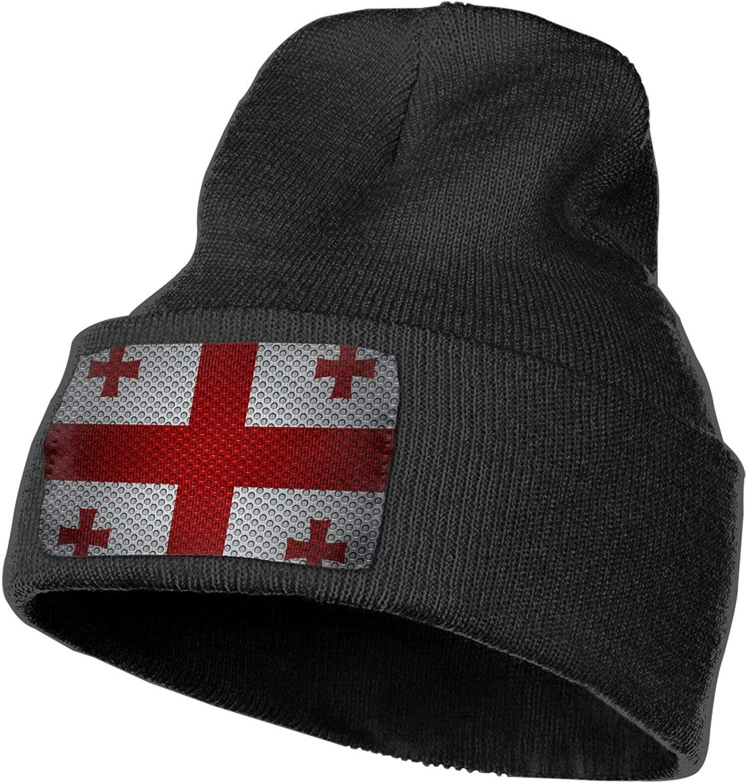 EUUI Flag of Georgia1 Beanie Knitted Hat Winter Beanie Warm Hat Elastic Hat Black