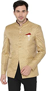 Men's Banarsi Rayon Cotton Casual and Festive Indian Jodhpuri Grandad Bandhgala Blazer : 4 Colors