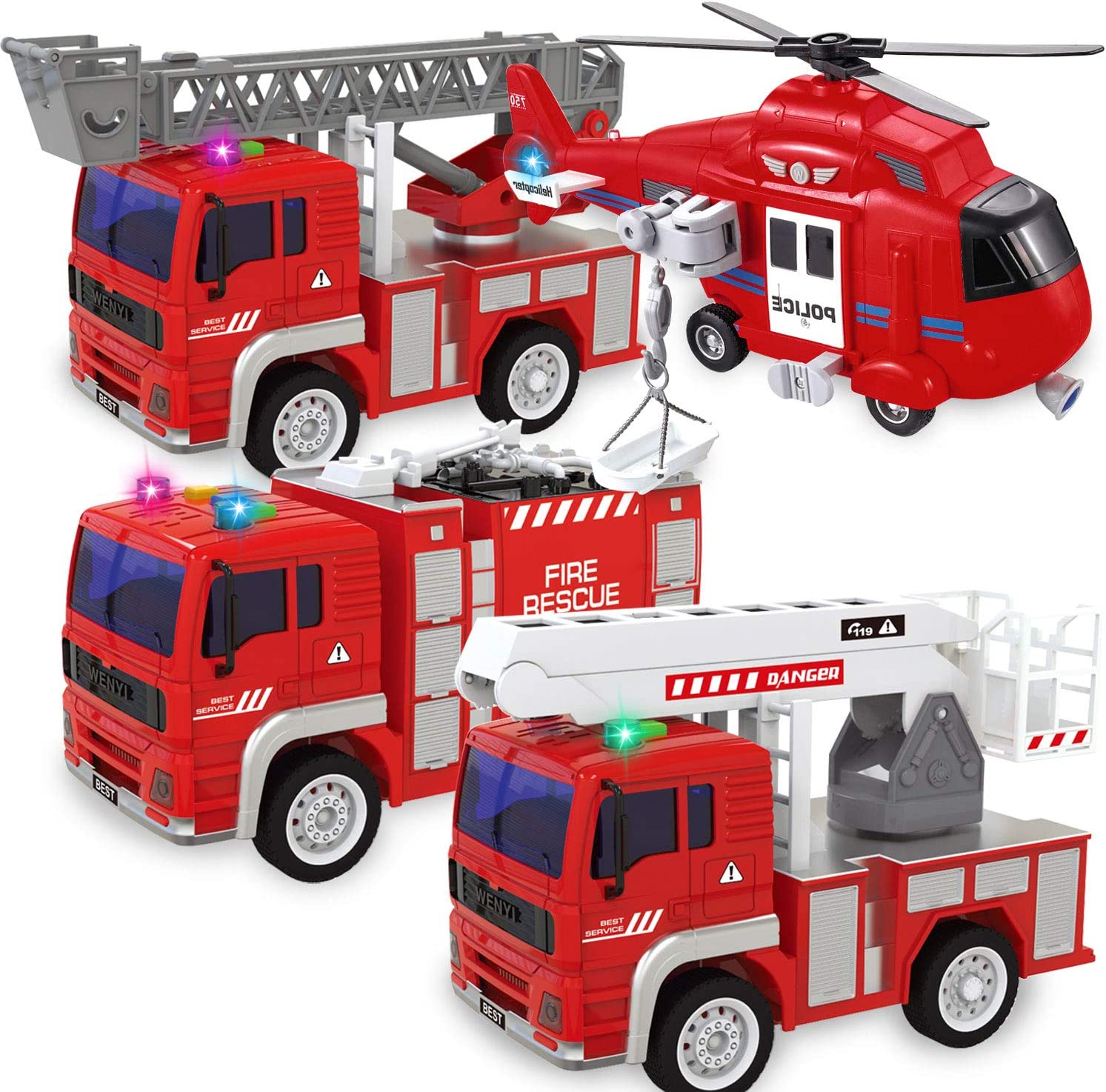 Tcvents 4 El Paso Mall Pack City Fire Trucks Kids Car Powered f Toys Friction Outstanding