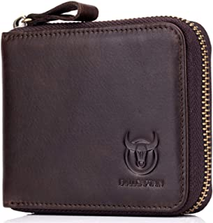 Mens RFID Blocking Wallets,Genuine Leather Short Zip-around Wallet for Men
