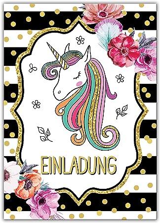 Einladungskarten Einladung 8 Geburtstag achte Kindergeburtstag Mädchen Einhorn