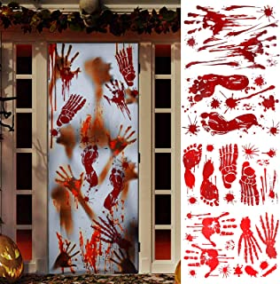 KHDZ Halloween Decorations Bloody Handprint Footprint, 112 PCS Halloween Window Clings Decal Zombie Party Decor Spooky Flo...