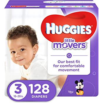 HUGGIES LITTLE MOVERS Diapers, Size 3 (16-28 lb.), 128 Ct., GIANT PACK (Packaging May Vary), Baby Diapers for Active Babies