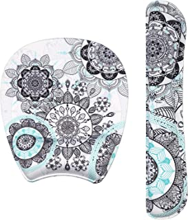 iLeadon Keyboard Wrist Rest and Mouse Pad with Wrist Support Gel Set, Ergonomic Mouse Pad with Non Slip Rubber Base, Soft Memory Foam for Home Office Easy Working Typing Pain Relief, Mandala Flowers