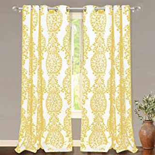 DriftAway Samantha Thermal Room Darkening Grommet Unlined Window Curtains Floral Damask Medallion Pattern 2 Panels 52 Inch by 84 Inch Yellow