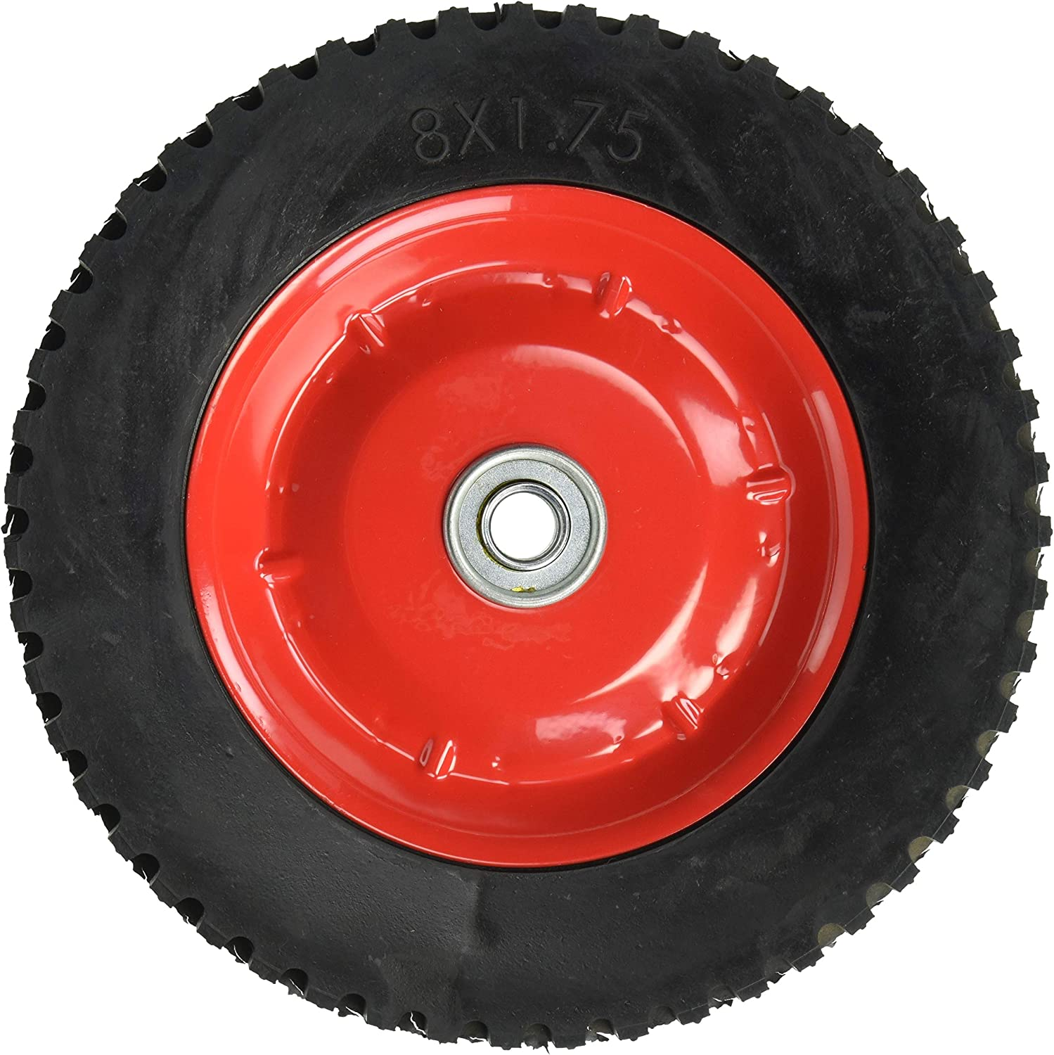 Shepherd Hardware 9636 8-Inch Semi-Pneumatic Rubber Tire Steel Hub with Ball Bearings 1//2-Inch Bore Centered Axle Ribbed Tread