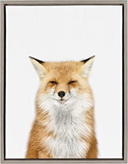 Kate and Laurel Sylvie Young Fox Framed Canvas Wall Art by Amy Peterson, 18x24, Gray