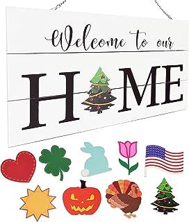 Interchangeable Seasonal Door Sign - Rustic Wood Door Hanging Holiday Sign - Home Decor Welcome Sign for Front Door Porch...