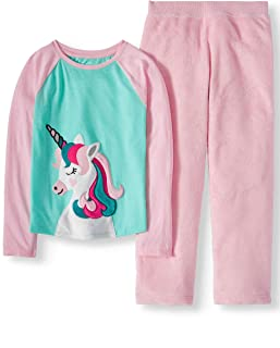 Girls' 2 Piece Cozy Unicorn Graphic Top and Loose Fit Pant Sleepwear Set (Large (10-12))
