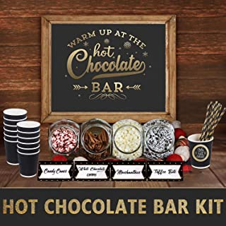 ORIENTAL CHERRY Winter Decorations - Hot Chocolate Bar Supplies -Sign Labels Tags w Cups and Straws - Baby It's Cold Outside Baby Shower Decor for Christmas Party New Year's Eve Kids Birthday