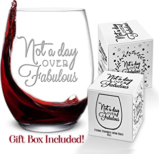 Not a Day Over Fabulous Wine Glass Birthday Gift for Women, 16 oz – Etched Novelty Stemless Tumbler Goblet Cup Glasses for 40th or 50th Party – Unique Gifts for Mom, Sister, Grandma, Best Friend
