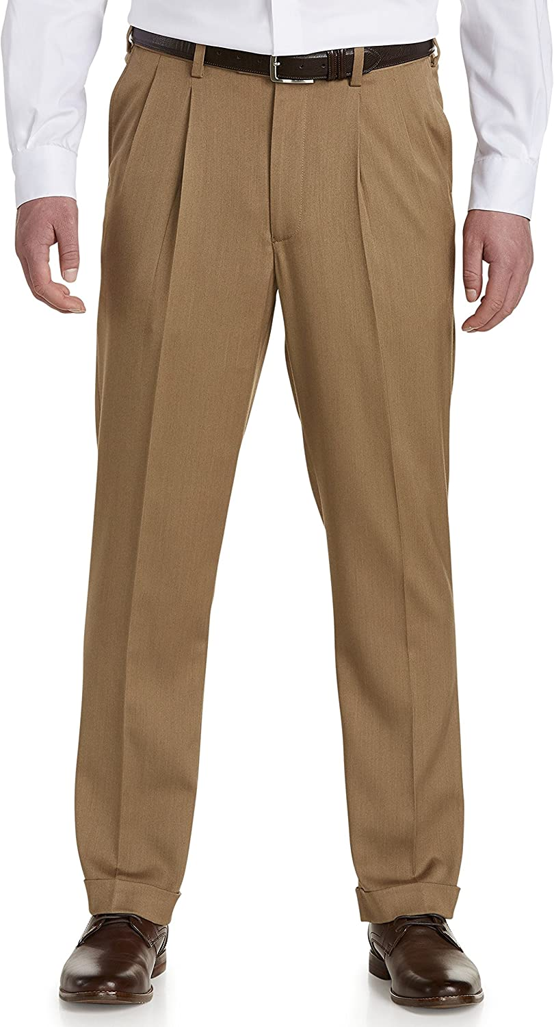 Gold Series DXL Big and Tall Waist-Relaxer Luster Sateen Hemmed Pleated Suit Pants