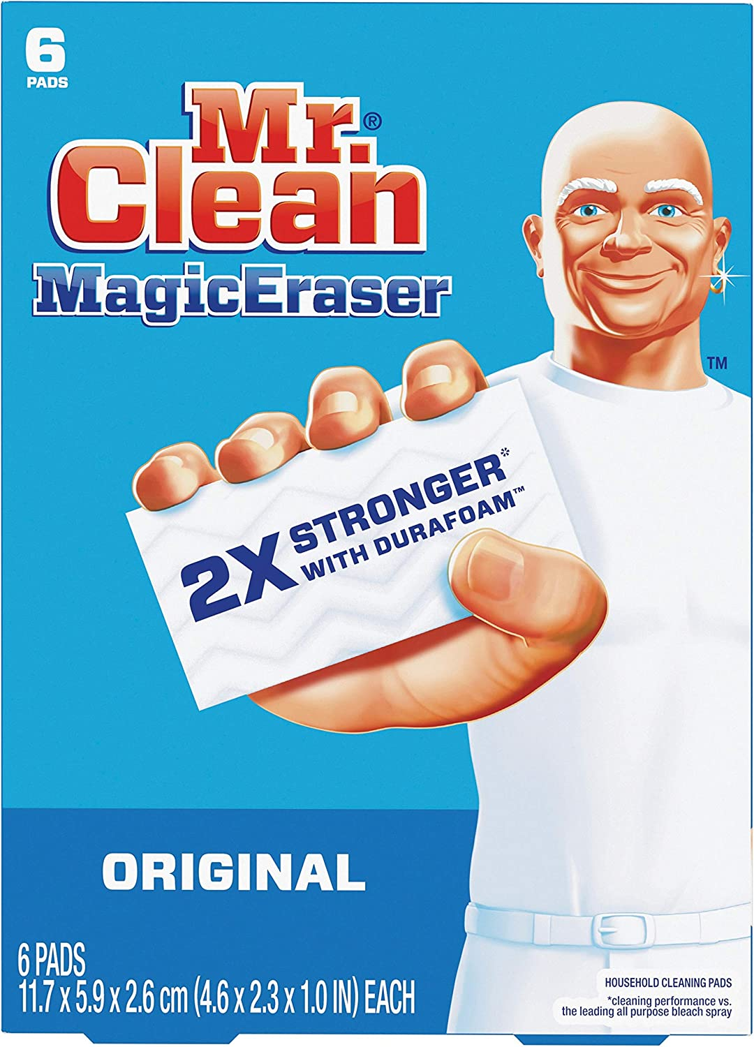 """Mr. Clean Magic Eraser Original Cleaning Pads with Durafoam, White 1"""" x 4.60"""" x 2.30"""", 6 Count : Health & Household"""