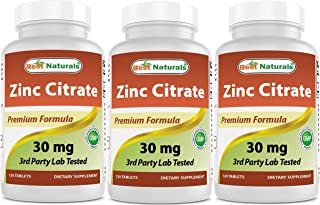 Best Naturals Zinc Citrate 30 mg - Immune Support - 120 Tablets (120 Count (Pack of 3))