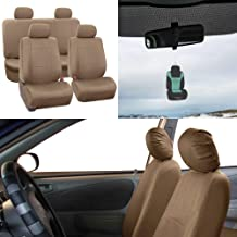 FH-PU002-1114 Classic Exquisite Leather Car Seat Covers, Airbag compatible and Split Bench, Solid Beige color