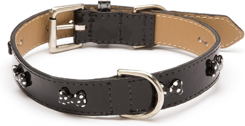 LV Bone Dot Straight Dog Collar, Extra Small Size 8, Black Patent with Black Enamel Bones